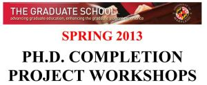 UMCP College Park PhD Completion Project Workshops