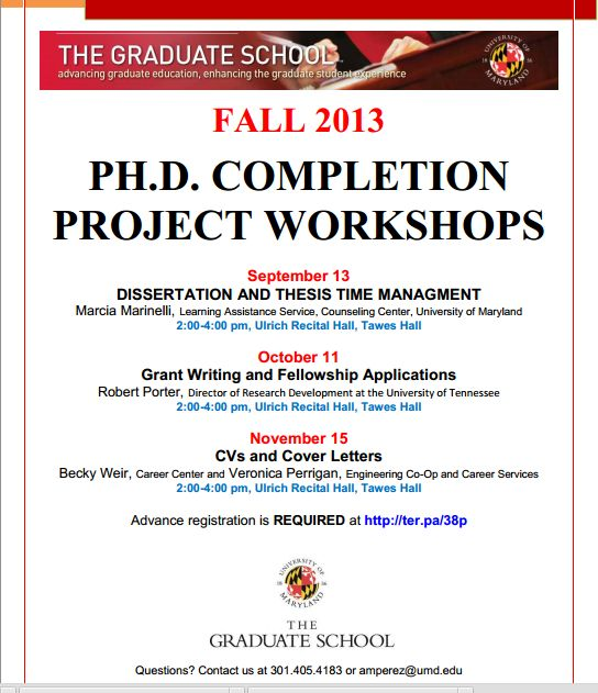 PhD Completion Workshops College Park 2013