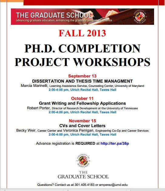 PhD Completion Workshops College Park 2013