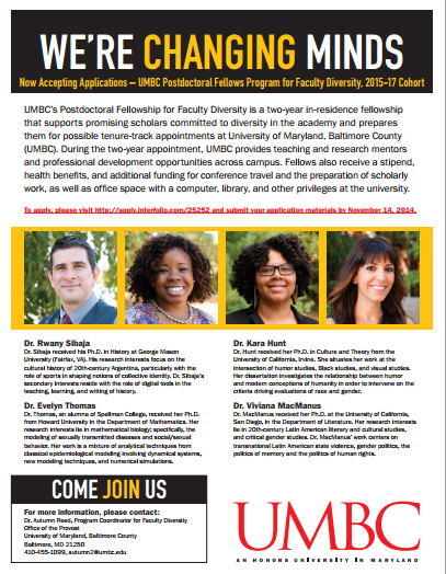 UMBC Postdoc for Faculty Diversity: Positions open for July 2015 ...