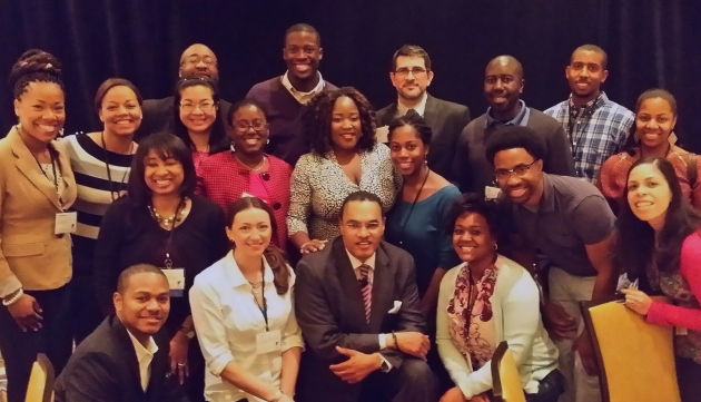 Grad students and postdocs from schools around Maryland with Dr. Tull and UMBC's President, Dr. Hrabowski