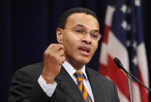 University of Maryland President Freeman A. Hrabowski speaks at the Justice Department's Black History Month celebration March 2, 2010 in the Main Hall of the Justice Department in Washington, DC. AFP PHOTO/Mandel NGAN (Photo credit should read MANDEL NGAN/AFP/Getty Images)