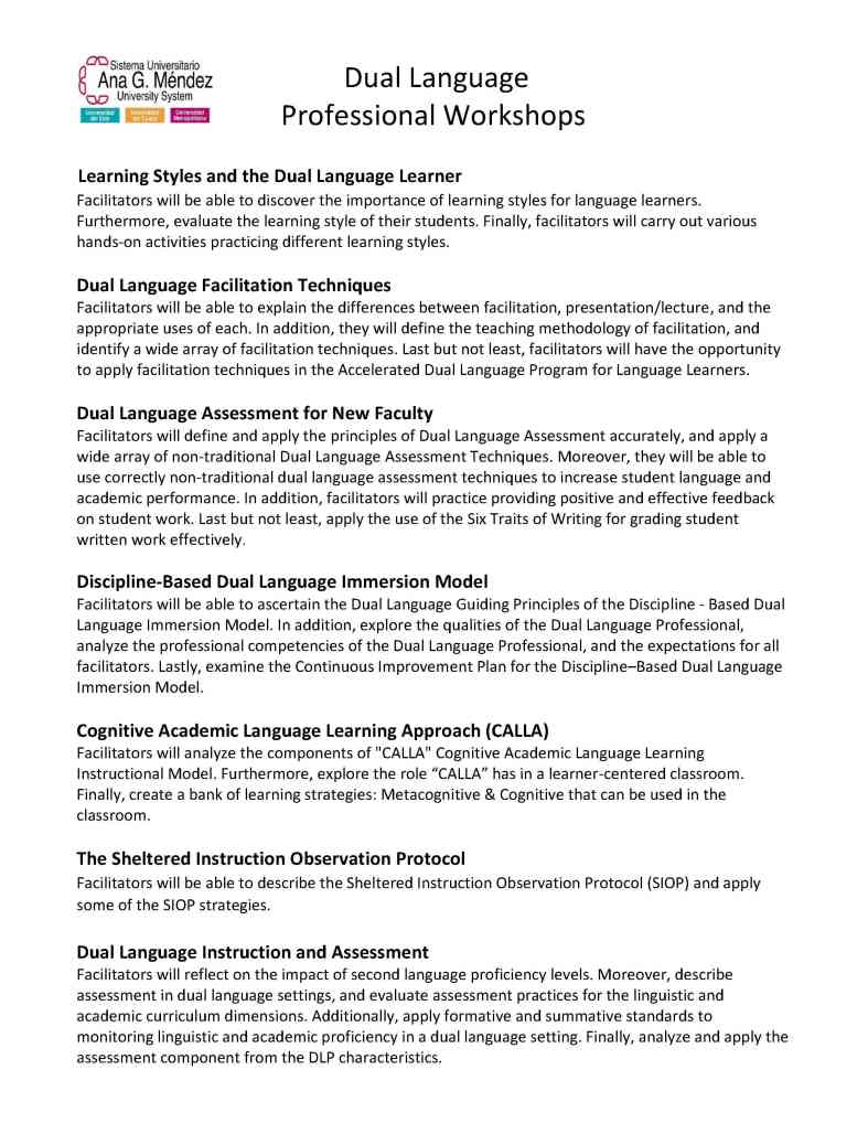 AGMUS Dual Language Workshops with descriptions  Requested Jan  19 20161