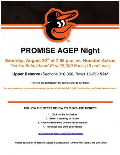 PROMISE AGEP Night - Orioles Game after 2016 SSI