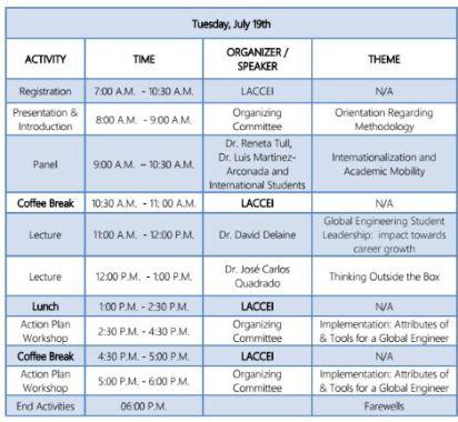 FLEEI schedule