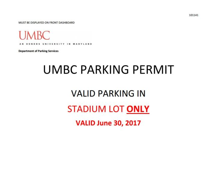 Parking permit Horizons 2017