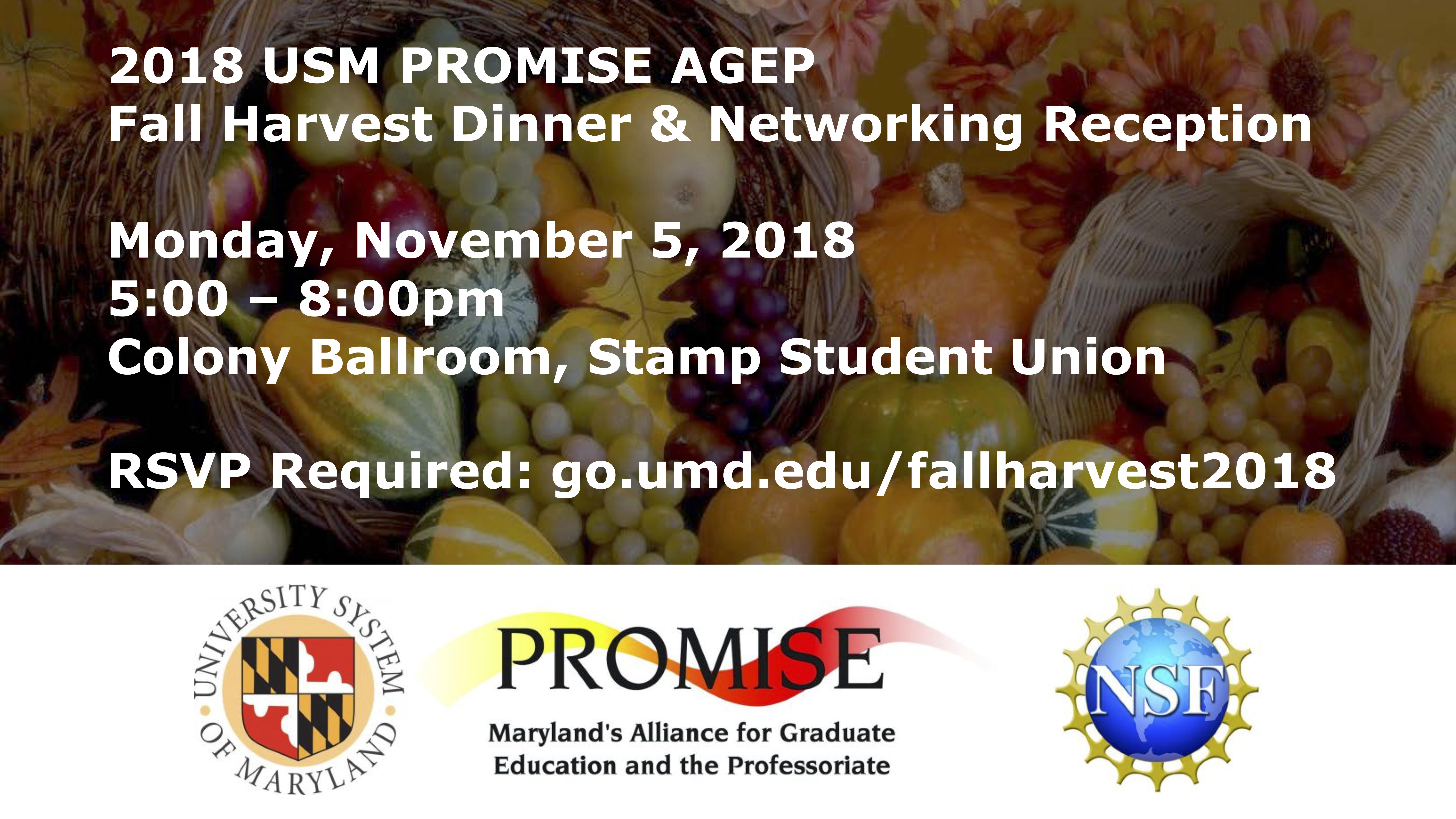 2018 USM PROMISE AGEP Fall Harvest Dinner & Networking